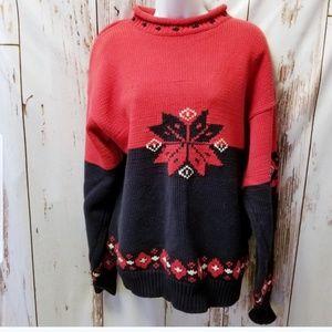 Vintage Gap fair isle nordic red snowflake sweater